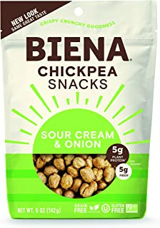 BIENA Chickpea Snacks, Sour Cream & Onion, 5 Ounce, 8 Count
