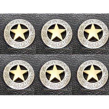 """Set of 6 WESTERN HORSE SADDLE TACK GOLD LONGHORN STEER STAR CONCHOS 1-1//8/"""""""