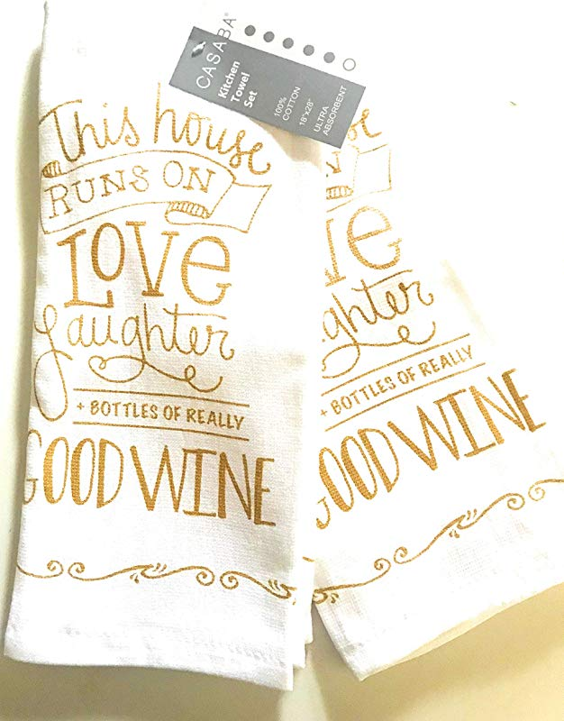 Casaba This House Runs On Love Laughter Bottle Of Really Good Wine Kitchen Hand Towel Set Of 2 100 Ultra Absorbant Cotton