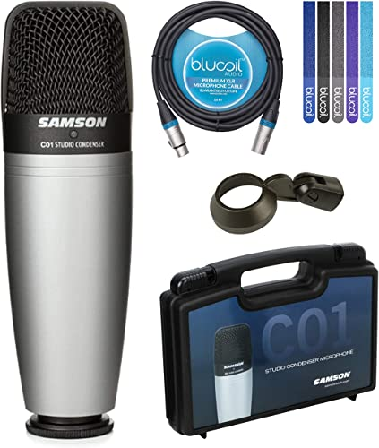 lowest Samson C01 Hypercardioid lowest Condenser Microphone for Studio Recording Bundle with Blucoil 10-FT Balanced XLR Cable, and 5-Pack of Reusable Cable online sale Ties online
