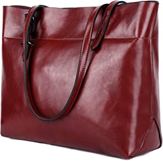 YALUXE Women's Soft Leather Work Tote Shoulder Bag with Wallet (Upgraded 2.0) Dark Red