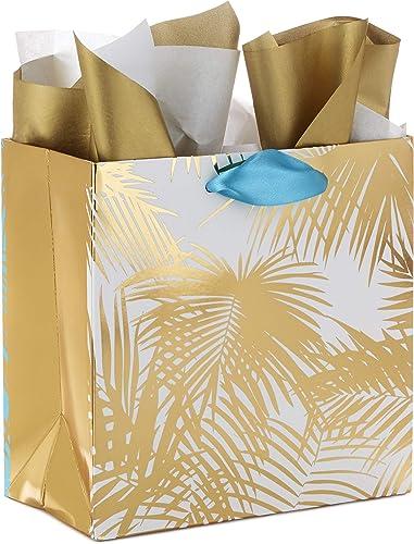 "Hallmark Signature 7"" Medium Gift Bag with Tissue Paper (Gold Palm Print) for Birthdays, Anniversaries, Weddings and ..."