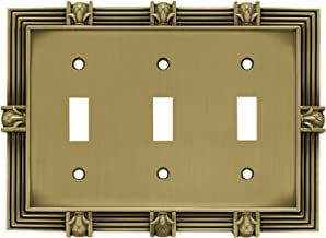 Franklin Brass 64477 Pineapple Triple Toggle Switch Wall Plate/Switch Plate/Cover, Tumbled Antique Brass