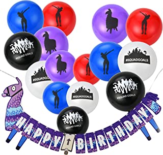 Saturday Club House Gaming Party Supplies Balloons and Banners - 50pcs Assorted Colorful Latex Party Favors Balloons and Birthday Banner Decorations