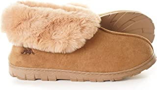 EuropeanSoftest Women's Micro Suede Faux Fur Fleece Lined Cozy 80-D High-Density Memory Foam Slipper Bootie Breathable House Shoes with Non Skid Indoor Outdoor Sole