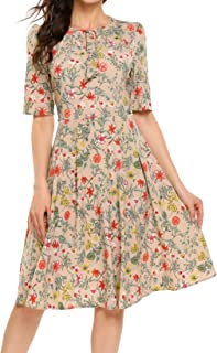 ACEVOG Women's Floral Dress Casual Short Sleeve Floral Printed Fit and Flare Party Dress