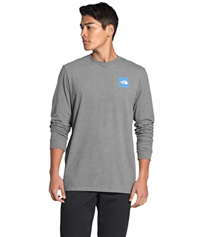 The North Face Long Sleeve Red Box T-Shirt (TNF Medium Grey Heather/Clear Lake Blue Digi Topo Print) Men