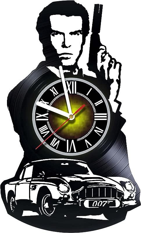 James Bond Special Agent Handmade Vinyl Record Wall Clock Artwork Gift Idea For Birthday Christmas Women Men Friends Girlfriend Boyfriend And Teens Living Kids Room Nursery