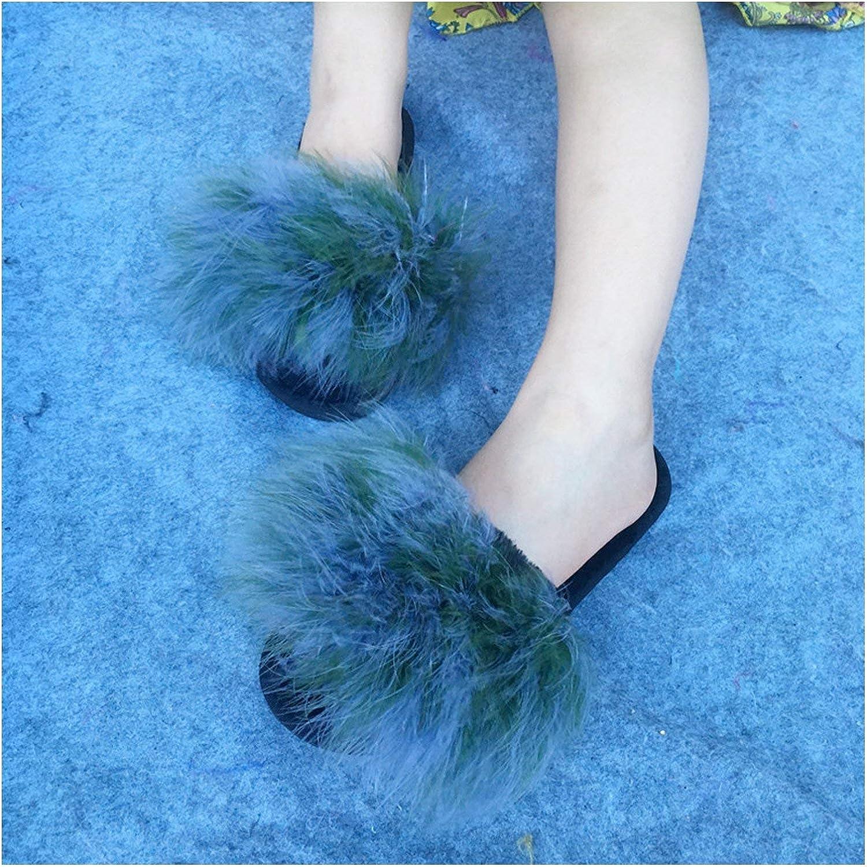 Zalin Fur Flip Flops Women Sweet Warm Sole Ostrich Feathers Slippers Summer Beach Slippers