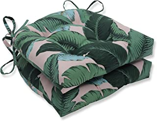 Pillow Perfect Outdoor | Indoor Swaying Palms Capri Reversible Chair Pad (Set of 2), Blue 16 X 15.5 X 4