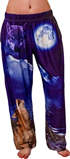 BRIEF INSANITY Comfortable Lounge Pajama Pants for Women & Men | Graphic Wolf Full Moon Loungewear Bottoms
