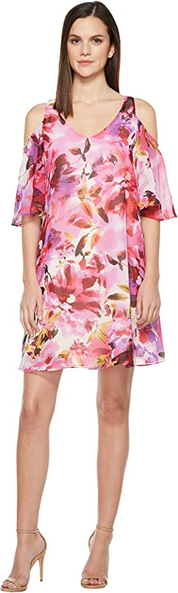 Hot House Peony Cold Shoulder Chiffon Shift Dress