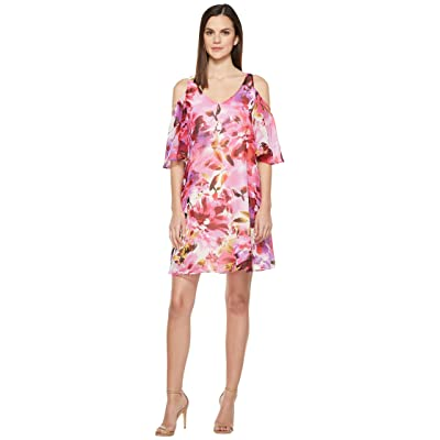 Maggy London Hot House Peony Cold Shoulder Chiffon Shift Dress (Soft White/Red) Women