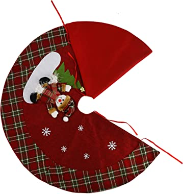 Houwsbaby Small Burlap Christmas Tree Skirt with Knitted Plaid Border 3D Snowman Home Decoration Mat Double Layers Xmas Ornam