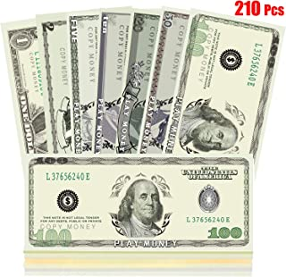 Viape Prop Money Play Money Movie Game Realistic Paper Money Full Print 2 Sided-Set Bills for Kids, Students Learning, Bachelor Party, Pranks, Movie Props (210 PCS) $5640 Bill Total