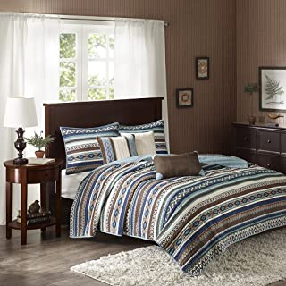 Madison Park Malone King/Cal King Size Quilt Bedding Set - Blue, Brown, Southwestern Pattern, Fair Isle – 6 Piece Bedding Quilt Coverlets – Micro Herringbone Fabric Bed Quilts Quilted Coverlet