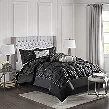 Madison Park Laurel Cal King Size Bed Comforter Set Bed in A Bag - Black, Wrinkle Tufted Pleated - 7 Pieces Bedding Sets - Faux Silk Bedroom Comforters