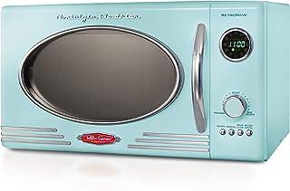 Nostalgia RMO4AQ Retro Large 0.9 Cu Ft, 800-Watt Countertop Microwave Oven, 12 Pre-Programmed Cooking Digital Clock, Easy Clean Interior, Aqua