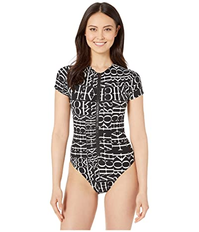 MICHAEL Michael Kors All Over Logo Cut Out High Neck Zipper Front One-Piece with Removeable Soft Cups (Black) Women