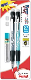 Pentel ICY Razzle-Dazzle Mechanical Pencil with Lead and 2 Erasers, 0.7mm, Assorted Colors, Color May Vary (AL27RDLEBP2M)