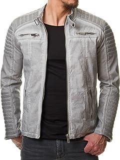 Redbridge M6011 Men's Jacket, Faux Leather, Biker, Quilted,Beige/Grey