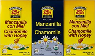 Hornimans Manzanilla Con Miel (50 tea bags) AND Manzanilla (25 tea bags) - Chamomile Tea - Herbal Tea - 75 tea bags