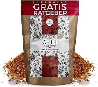 Chili Chilischoten geschrotet 750g EXTRA SCHARF | getrocknete hot Chillis mit Kernen inkl. gratis Ratgeber | Chiliflocken für Chilimühle - Capsaicin