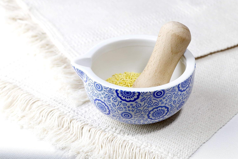 Porcelain Mortar and Pestle Set,Spice Herb Grinder Pill Crusher Set Kitchen Tools,Blue