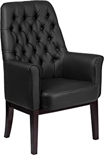 Flash Furniture High Back Traditional Tufted Black Leather Side Reception Chair