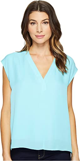 Silk Boxy V-Neck Placket Blouse