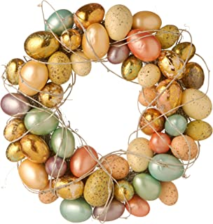 Multicolor Plastic 16-inch Easter Egg Wreath Gold