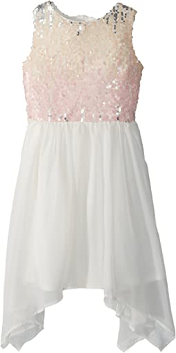 Sequin Bodice Skirt w/ Handkerchief Hemline (Big Kids)