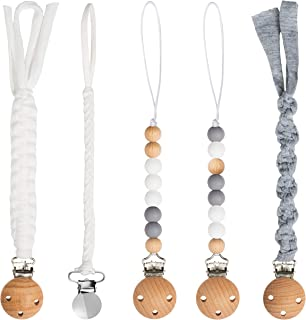 5 Pack Babies Pacifier Clips 9.1 Inch Pacifier Leashes Metal Teething Clips Teether Toy with Braided Cotton Rope Chewbeads...