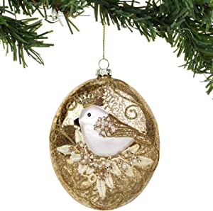 Department 56 Magnolia Garden Bird with Pearls Oval Hanging Ornament, 5 Inch, Multicolor