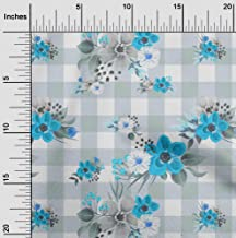 oneOone Cotton Cambric Turquoise Blue Fabric Floral Fabric for Sewing Printed Craft Fabric by The Yard 42 Inch Wide
