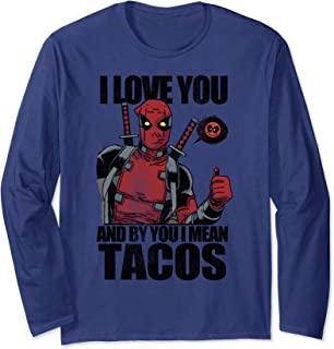 Marvel Deadpool I Love Tacos Valentine's Long Sleeve Tee