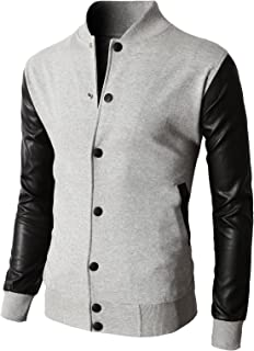 Mens Slim Fit Varsity Baseball Bomber Jacket of Various Styles