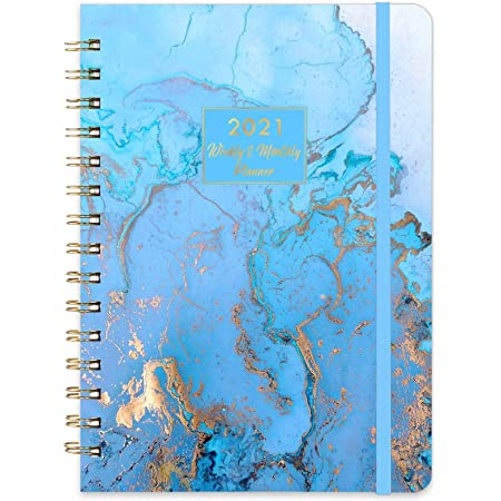 6.4x 8.5 Dec 2021 Elastic Binding Flexible Hardcover Twin-wire Bounded Planner 2021- Weekly /& Monthly Planner 2021 with Tabs Inner Pocket Jan 2021 Premium Paper