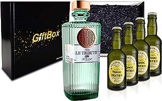 Gin Tonic Giftbox Geschenkset - Le Tribute Gin 0,7l 43% Vol  4x Fentimans Tonic Water 200ml inkl. Pfand MEHRWEG - Enthält Sulfite