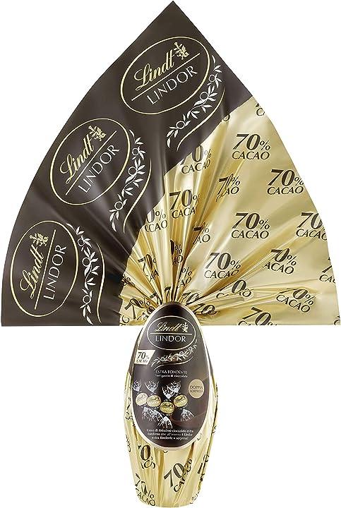 Uovo di pasqua lindor lindt cioccolato extra fondente 70% - 320 grammi B07P9T35DP