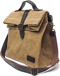 Insulated Waxed Canvas Lunch Bag (Brown), Adjustable Shoulder Strap and Handle, Water Resistant