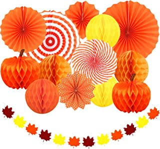 Adoreu Autumn Party Decoration Set Hanging Paper Fans Pumpkins Hanging Honeycomb and Maple Leaves Garland Banner for Fall Party Birthday Wedding Photo Backdrop Fireplace Decoration