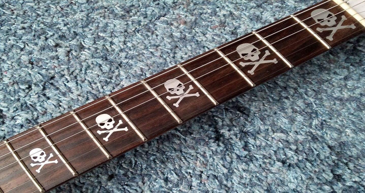 Skull Bones Silver & Black Deluxe Fret Markers Inlay Stickers pegatinas Guitar & Bass Diapason