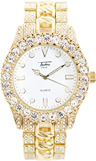 Mens 44mm Solitaire Bezel and White Dial Gold Watch with Metal Band Strap (Resizable Links) - Quartz Movement