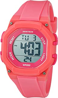 Armitron Sport Women's 45/7080PNK Hot Pink Accented Digital Chronograph Coral Colored Resin Strap Watch