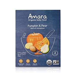 Amara Organic Baby Food | Pumpkin & Pear | Homemade Made Possible | Mix with Breastmilk, Formula or Water | Certified Organic, Non-GMO, No Added Sugars | Stage 2 - Babies 6 Months & Older | 5 Pouches