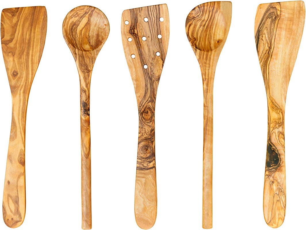 Tramanto Olive Wood Utensil Set 5 Piece Spatula And Spoon 12 Inch Luxury Kitchen