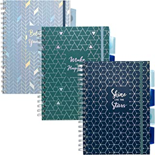 Pukka Pad 5-Subject Divider Ruled Notebook, 3-Pack, 7 x 10 inch, 100 80 GSM Wgt. Sheets, 2 Blue 1 Green