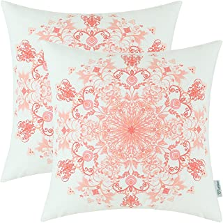CaliTime Pack of 2 Cozy Fleece Throw Pillow Cases Covers for Couch Bed Sofa Vintage Mandala Snowflake Floral 18 X 18 Inches Peach Pink