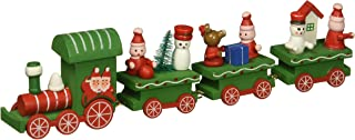 OULII Cute Wooden Mini Train Ornaments Kids Gift Toys for Christmas Party Kindergarten Decoration (Green)